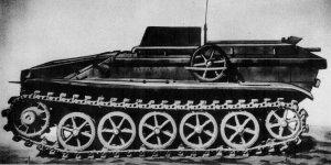 Czołg pułapka Schwerer Ladungsträger Borgward B IV. Waga 4 tony, ładunek wybuchowy - 360 kg, silnik spalinowy, sterowanie radiowe.