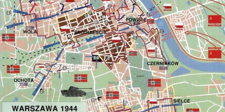 Mapa Powstania Warszawskiego 1944 Warszawa Pl