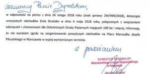 Fragment pisma z urzędu wojewódzkiego w Warszawie - odmowa Dyrektora Generalnego Mazowieckiego Urzędu Wojewódzkiego na organizację obchodów 100-lecia Ochotniczych Straży Pożarnych na pl. Piłsudskiego w Warszawie w roku 2018