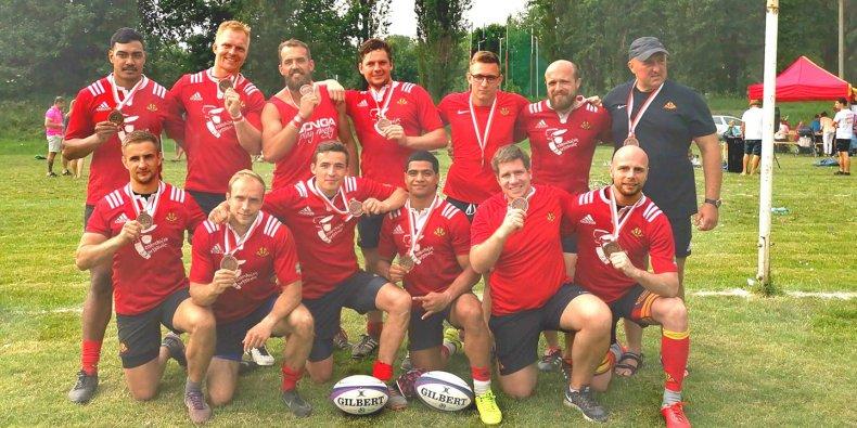 Drużyna Skra Rugby Warszawa z brązowymi medalami - Mistrzostwa Polski Seniorów Rugby 7