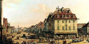 Kamienica Johna (dziś Dom Literatury) na obrazie Bernardo Bellotto: Krakowskie Przedmieście od strony Bramy Krakowskiej
