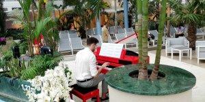 Czerwone pianino na basenie