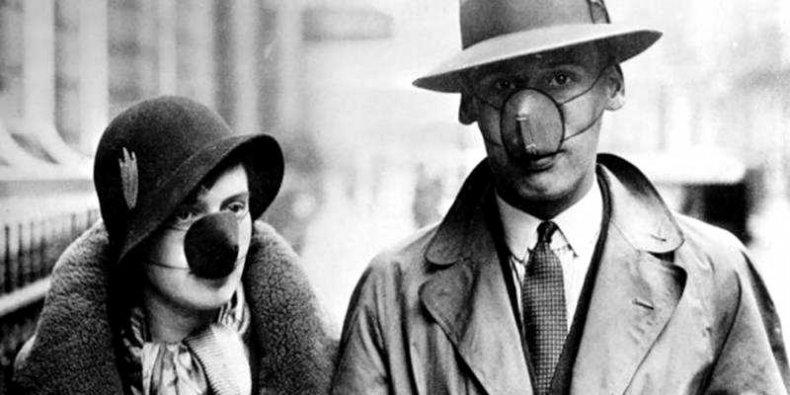 Ochrona przed grypą hiszpanką w 1918 r.
