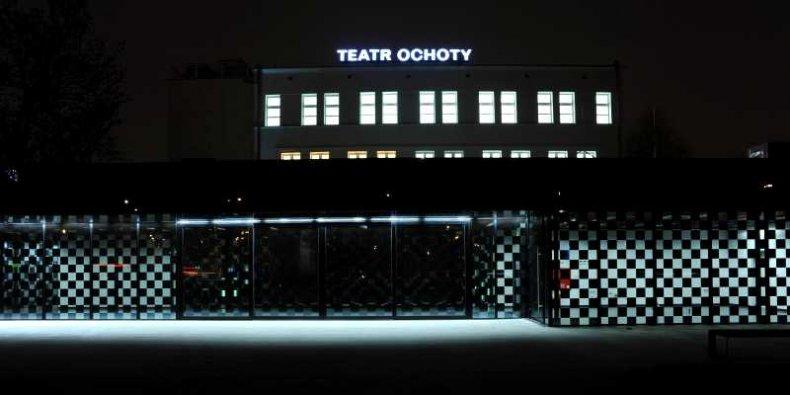 Teatr Ochoty w nocy - neon