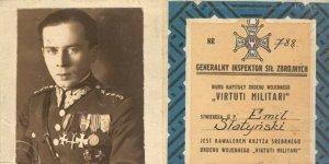 Porucznik Emil Słatyński i legitymacja odznaczenia orderem Virtuti Militari