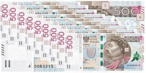 5000 zł (10 x 500) - ze wzorów NBP