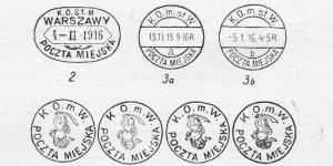 Kasowniki warszawskiej poczty miejskiej z 1915 roku