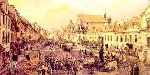 Krakowskie Przedmieście. Widok w stronę Kolumny Zygmunta. Bernardo Bellotto Canaletto