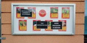 Strajk na Paluchu - oklejona tablica ogłoszeń adopcyjnych