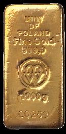 Złoto 1000 g Font sztabki odlewanej