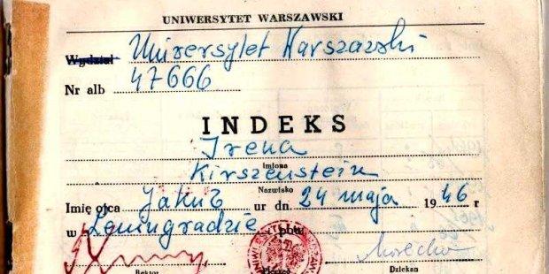 1. strona indeksu Ireny Kirszenstein na Uniwersytecie Warszawskim